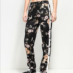Love, Fire Black Floral Tear Away Track Pants (M)